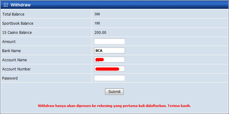 withdraw agen resmi sbobet